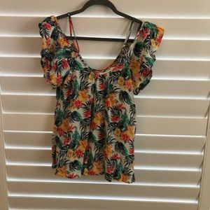 Crop top with Floridian/Hawaian Design -size small